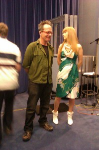 David Bower (actor) and Sophie Woolley in radio drama studio