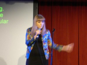 Sophie Woolley performing onstage at Soho Theatre