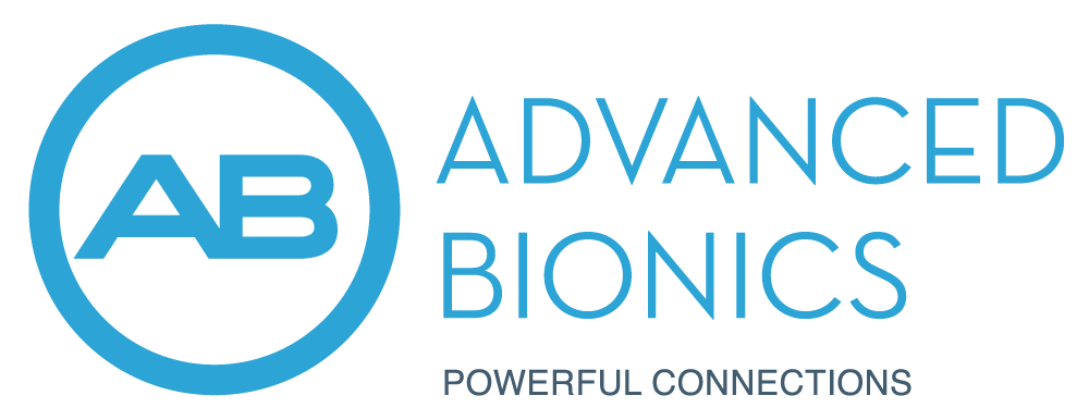 Advanced Bionics logo in blue and white