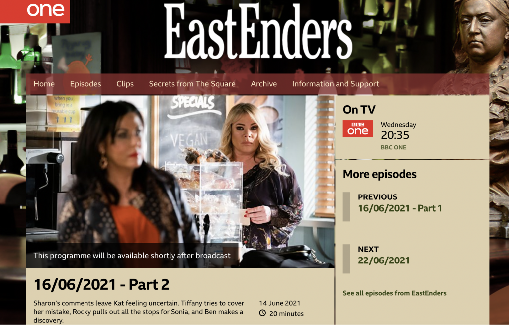 Screenshot of BBC Eastenders website. Characters Sharon and Kat are in the cafe.