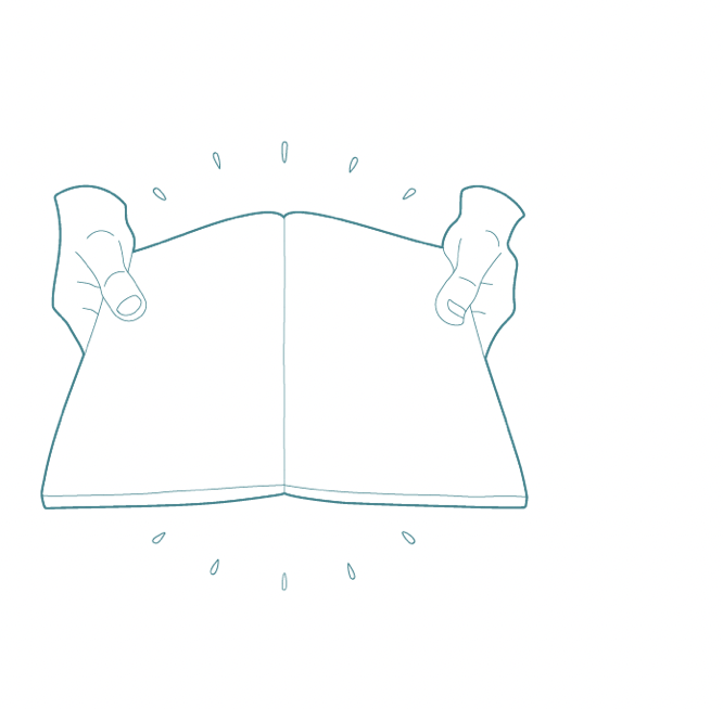 A line drawing graphic of two hands holding an open book.