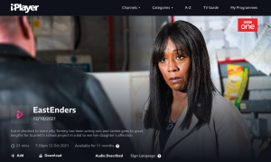 A screenshot of BBC iplayer Eastenders episode. Denise looks worried and shocked.